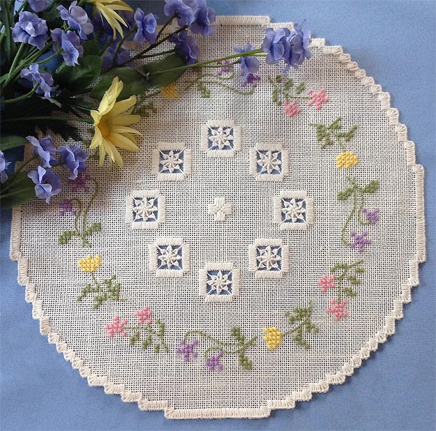 Image of Spring Floral Doily